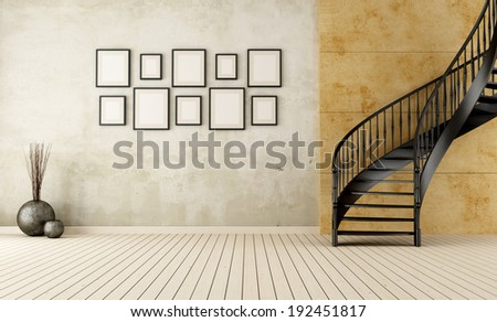 Vintage room with black circular staircase - rendering - stock photo