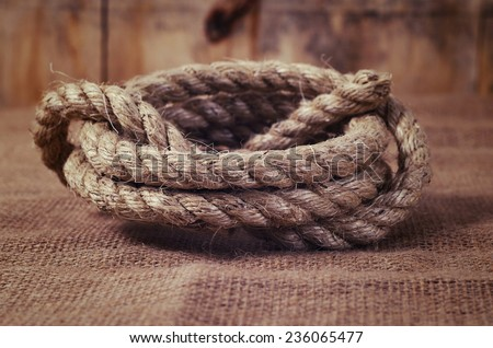 vintage rope closeup. shallow DOF - stock photo