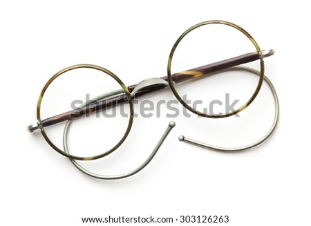 Vintage round eyeglasses isolated on white - stock photo