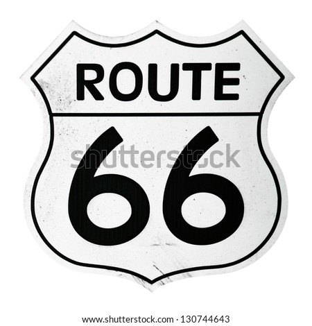 vintage route 66 sign isolated on white background - stock photo