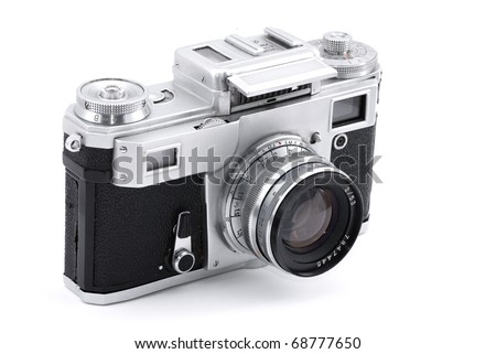 Vintage Russian analog camera isolated on white - stock photo