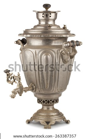 Vintage russian tea samovar isolated on white background - stock photo
