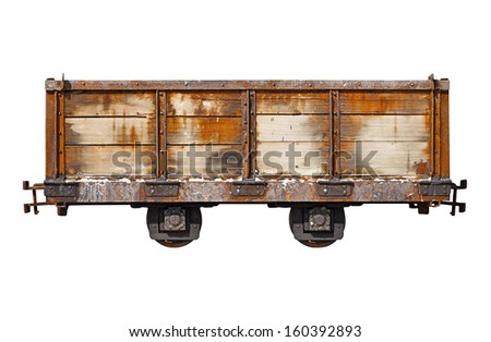 Vintage rusty car for the narrow-gauge railway isolated on white background - stock photo