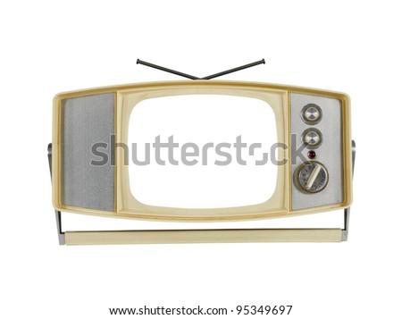 Vintage 1960's Portable Television with Blank Screen and Handle Stand. - stock photo