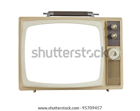 Vintage 1960's portable television with cut out screen, isolated on white. - stock photo