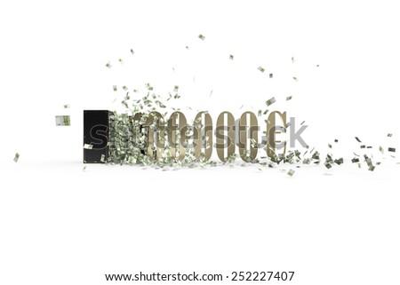 vintage safe and 100000 euro - stock photo