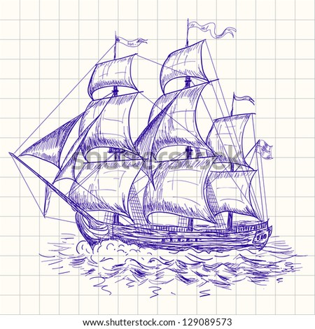 Vintage sailboat. Raster version. Vector is also available in my gallery - stock photo