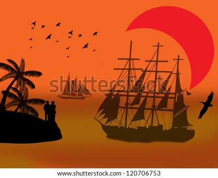 Vintage sailboat sailing at red sunset on tropical seascape and couples on island - stock photo