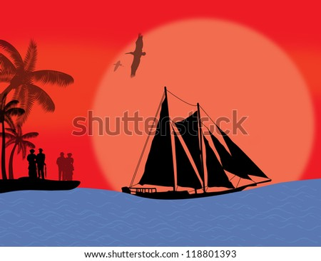 Vintage sailboat sailing at red sunset on tropical seascape and couples on island, background illustration - stock photo