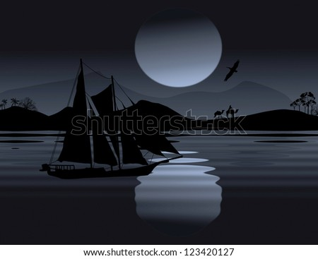 Vintage sailboat sailing at sunset on tropical seascape, background illustration - stock photo