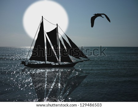 Vintage sailboat sailing in  a sunset on tropical seascape, background illustration - stock photo