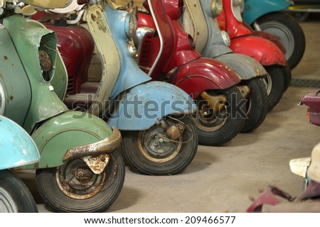 Vintage scooter detail - stock photo