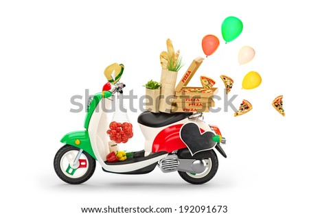 Vintage scooter with Italian food at blue background. Traveling to Europe. Italy - stock photo