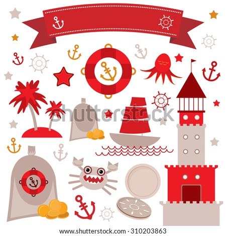 Vintage scrap nautical set cute sea objects. Red, gray, yellow.  illustration - stock photo