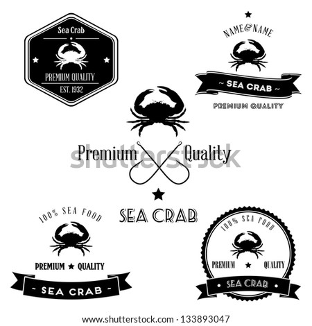 Vintage Sea Crab Badge set - stock photo