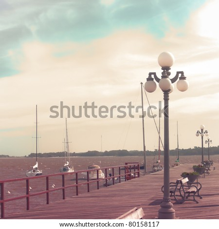 Vintage Sea port - stock photo