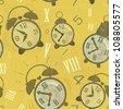 Vintage seamless background -  Alarm Clocks with Grunge Effect - JPEG version - stock photo