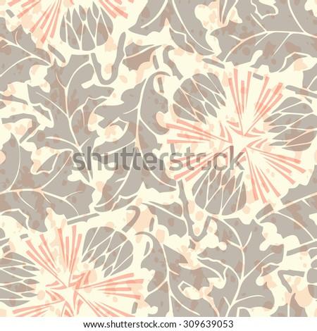 Vintage Seamless floral linen pattern. Raster version - stock photo