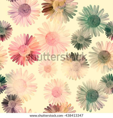 Vintage seamless pattern with daisy, chamomile flowers, colorful retro natural  background. - stock photo