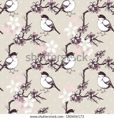 Vintage seamless pattern with hand drawn blooming fruit tree twig and birds. Spring flower illustration on background - stock photo