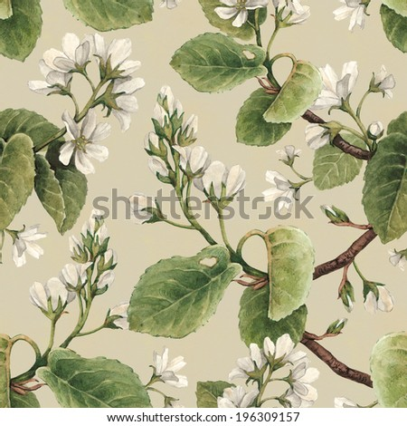 Vintage seamless pattern with watercolor apple flowers  - stock photo