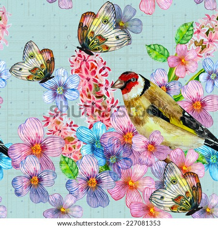 vintage seamless texture with cute birds watercolor - stock photo