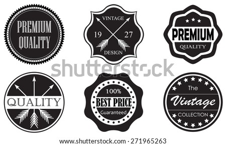 Vintage set of Premium Quality and Best Price labels and badges on white background. Retro style design. - stock photo