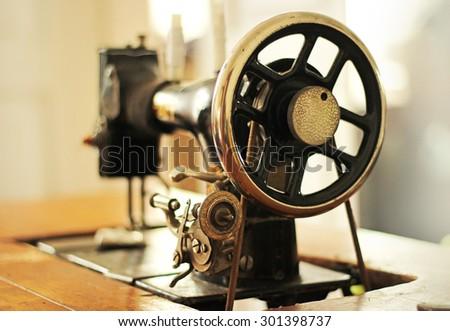 vintage sewing machine - stock photo