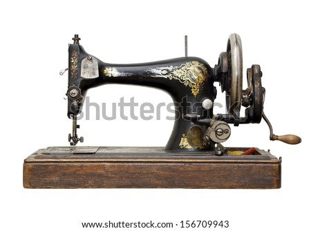 vintage sewing machine isolated on white - stock photo