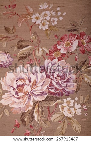 Vintage shabby chic brown wallpaper with multicolor floral victorian pattern - stock photo