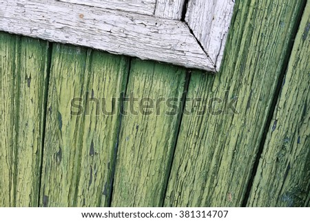 Vintage shabby white-green wood background with peeling paint. - stock photo