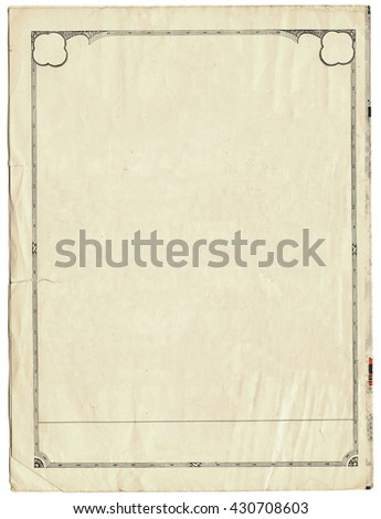 Vintage sheet of paper with an art deco border - stock photo