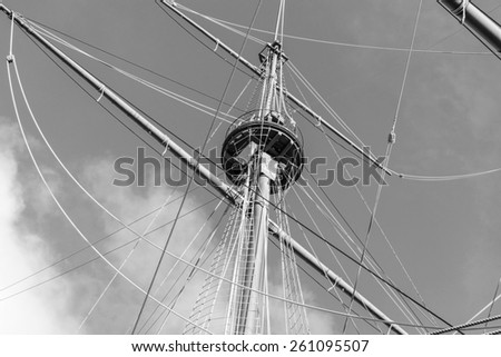 Vintage ship mast black and white photography. - stock photo