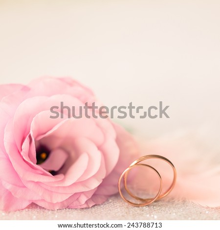 Vintage Sile Wedding Background with Gold Rings and Beautiful Flower - stock photo