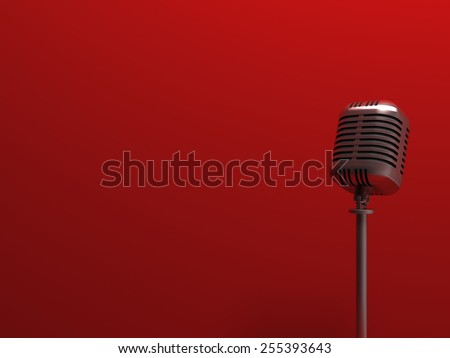 Vintage silver microphone - stock photo