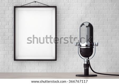 Vintage Silver Microphone in front of Brick Wall with Blank Frame extreme closeup - stock photo