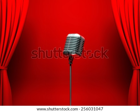 Vintage silver microphone on scene - stock photo