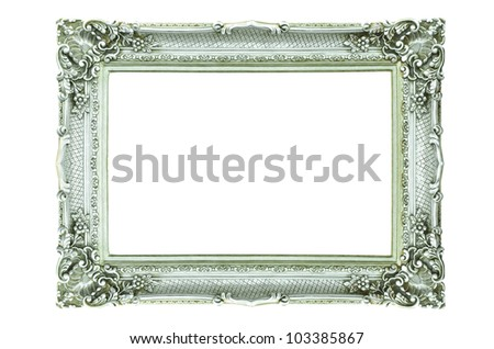 Vintage silver picture frame isolated on white - stock photo
