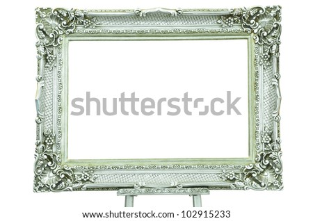 Vintage silver picture frame with metal silver easel isolated on white background - stock photo