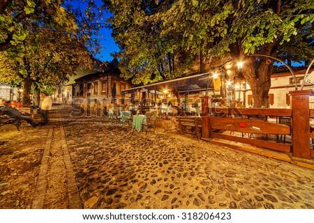 Vintage Skadarska street in Skadarlija, main bohemian quarter of Belgrade, Serbia - stock photo