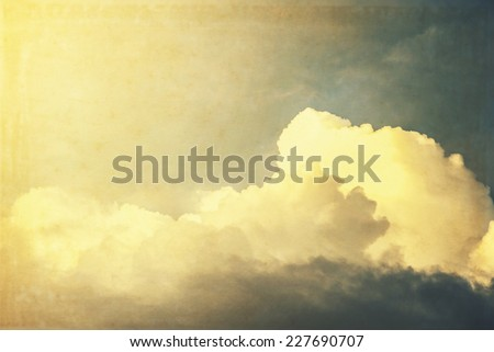 Vintage sky with cloud, sunshine - stock photo