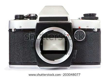 Vintage SLR camera without lens isolated - stock photo