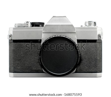 Vintage SLR film camera with body cover , no branding - stock photo