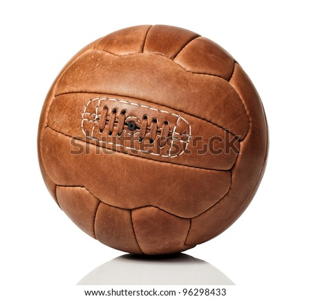vintage soccer ball on white background - stock photo