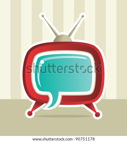 Vintage Social media web tv concept illustration. - stock photo
