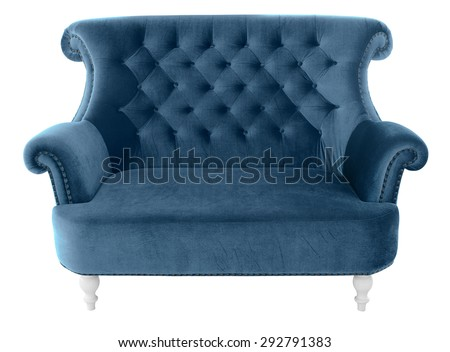 Vintage sofa furniture isolated on white background with clipping path - stock photo