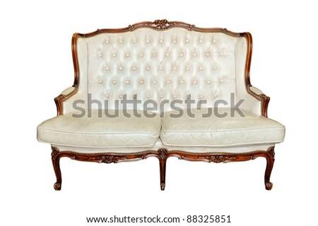 Vintage sofa isolated on white - stock photo
