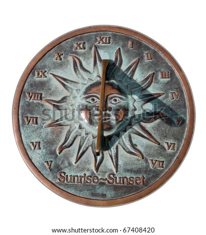 Vintage solar clock in sunny day - stock photo