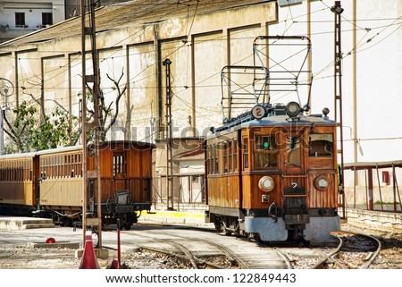 Vintage Soller train in Majorca (Spain) - stock photo