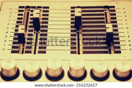 Vintage sound mix board - stock photo